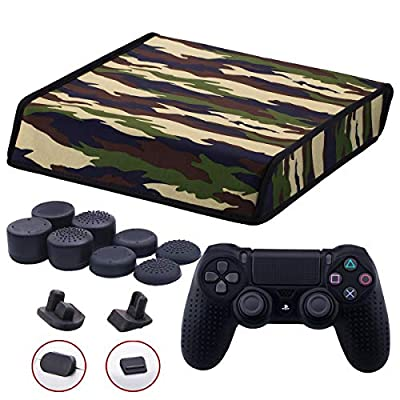 9CDeer Soft Neoprene Dirt Dust Protective Cover camouflage for PS4 PRO Horizontal Version + 1 Piece Controller Silicone Cover Skin Black + 2 Pieces Controller Dust Proof Plugs + 8 Pieces Thumb Grips by 9CDeer
