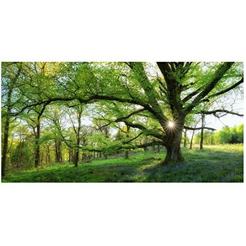 Carteles e impresiones de paisajes de bosque verde Arte de la pared Pintura en lienzo Árboles gigantes Imágenes para la sala de estar Decoración del hogar -60x120cm Sin marco