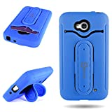 LG Optimus L70 Exceed 2 Realm Pulse Ultimate 2 L41C Hybrid Phone Case by CoverON Shockproof Protective Hybrid Cover with Snap Ring Kickstand (Blue)