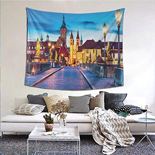 JKTOWN Urban Living Room Tapestry Wall Hanging 90x59 inch Colorful Sunset Evening View of Old Main Bridge in Historical Land Bavaria Germany Multicolor
