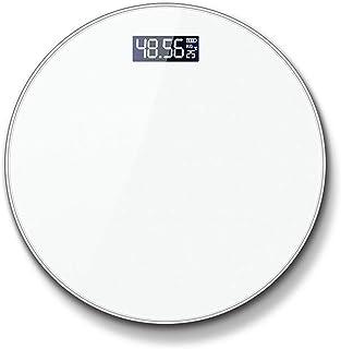 LINLIN Báscula Digital de Alta precisión Báscula Inteligente con múltiples Funciones Esenciales Digital para baño Peso Corporal, IMC, Porcentaje de Grasa Corporal Báscula Corporal,Blanco,Battery