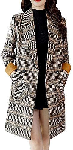 Uni-Wert Damen Mantel Kariert Lange Trenchcoat Elegant Wollmantel Langarm Revers Frauen Windjacke Herbst Winter Jacke Outwear Windbreaker Slim Fit Mantel