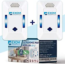ES-2, Ultrasonic Pest Repeller Wall Plug-in, Most Effective than Repellents, Get Rid Of - Roaches, Ants, Spiders, Bed Bugs, Мosquito, insects, Fleas, Fly, Rodents, Squirrels, Mice, Rats, Bats, 2 Pack