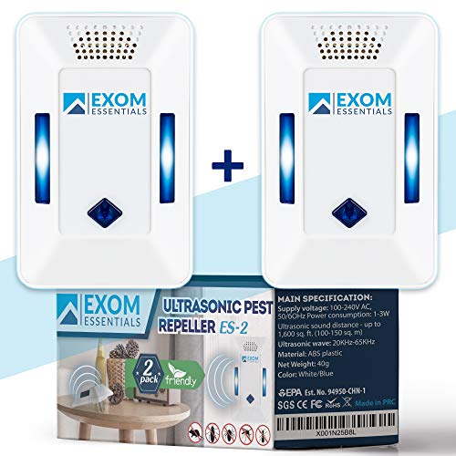 2Pack Ultrasonic Pest Repeller Wall Plug-in, Most Effective than Repellents, Get Rid Of - Roaches, Ants, Spiders, Bed Bugs, Мosquito, insects, Fleas, Fly, Rodents, Squirrels, Mice, Rats, Bats, Mod ES2