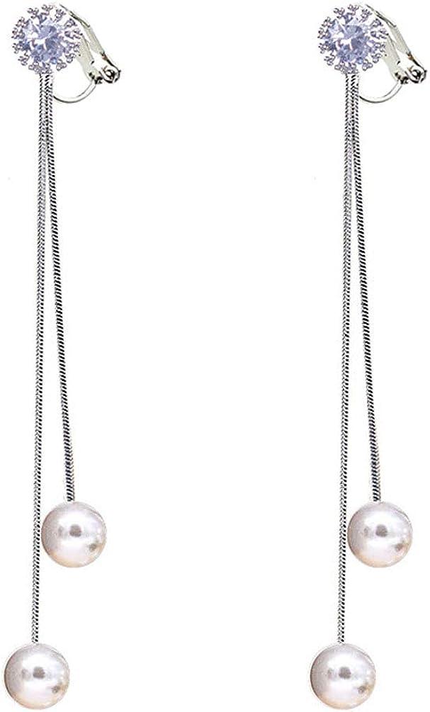 Clip on Dangle Earrings Created Pearl Long Tassel Crystal Round Rhinestones Women Girls No Pierced Drop