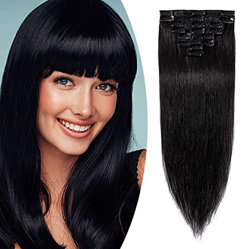 """Clip in Extensions Echthaar Haarverlängerung Haarteil 8 teiliges SET günstig Remy Haar weich Schwarz#1 24""""(61cm)-80g"""