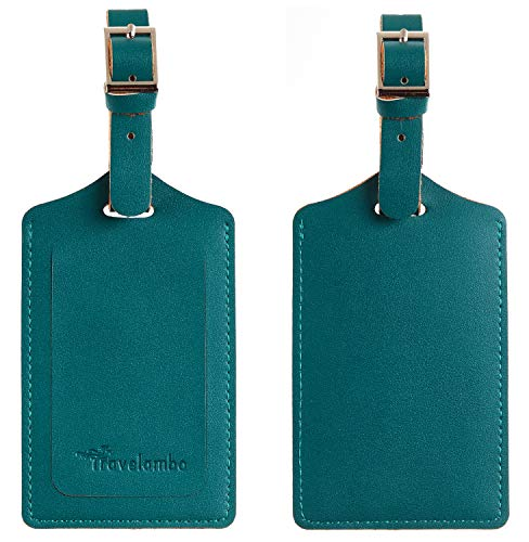 Travelambo Leather Luggage Bag Tags (Summer Green)
