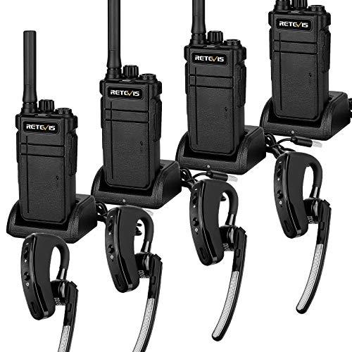 Retevis RB637 Bluetooth Walkie Talkie, PMR446 Radio Largo Alcance con Auriculares Bluetooth, Clon Inalámbrico, Radio Bidireccional Recargable USB 2000 mAh para Almacén, Seguridad(Negro, 4 Piez