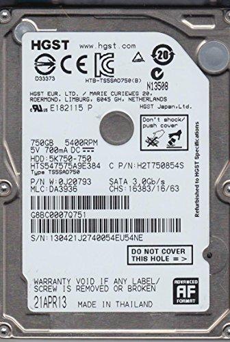 HTS547575A9E384, PN 0J20793, MLC DA3936, Hitachi 750GB SATA 2.5 Festplatte