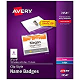 Avery Clip Name Tags, Print or Write, 3' x 4', 100 Inserts & Badge Holders with Clips (74541)