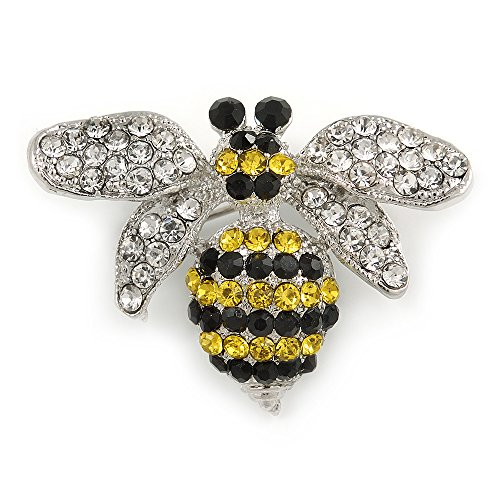 Avalaya Small Clear/Black/Yellow Crystal Bee Brooch in Silver Tone Metal - 35mm Across