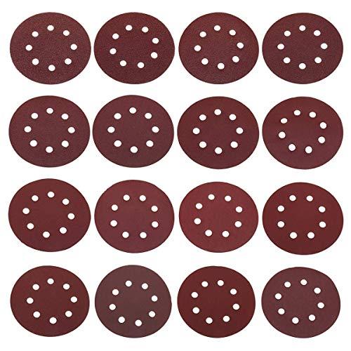 Busirsiz Gancho de molienda Herramienta 160pcs 5 Pulgadas con 8 Perforaciones Loop Discos de Lijado 40-2000 Grit Orbital Sander Papel de Lija