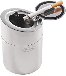 Newness Car Ashtray, [Upgraded, Detachable Body, Sealing Lid], Stainless Steel Car Ashtray with Lid, Cigarette Ashtray for Car, Auto, Ash Holder for Smokers, Desktop Smoking Ash Tray for Home Office