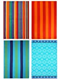 COTTON CRAFT Cancun Set of 4 Ringspun Cotton Plush Velour Beach and Pool Towels, 32 inch x 63 inch, Assorted