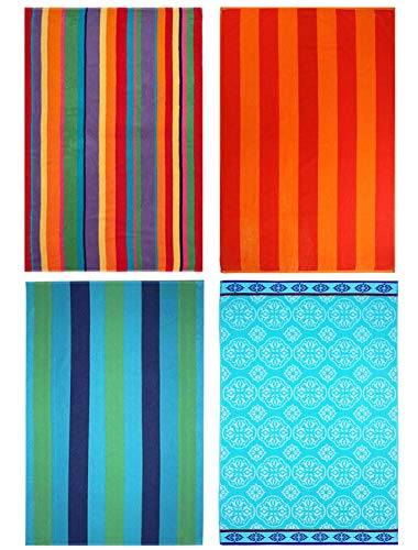 COTTON CRAFT - 4-Pack Assorted Velour Beach Towels - Large 32x63 Inches - 100% Cotton - Trellis & Cabana Stripe, Summer of Siam & Cabana Orange Stripe...