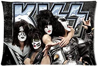 Custom Custom KISS American Rock N Roll Band Home Decorative Soft Throw Pillowcase Cushion Custom Pillow Case Cover Protecter with Zipper Standard Size 20x30 Inches Two Sides Printed