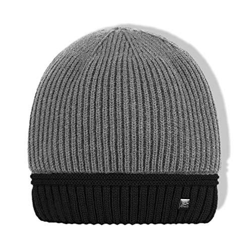 LFEILONG Herren Plus samt kalte Ohrenschützer Strickmütze warme Lockenwolle Mütze grau 01