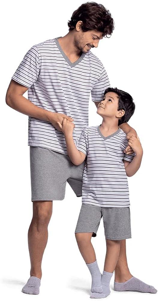 Lupo Daddy and Son Matching Pajamas Set T-Shirt and Shorts Soft Basic Summer Sleepwear