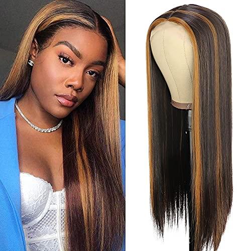 PORSMEER Perruque Lace Front Synthetiques Cheveux Naturelle Brune Mixte Blonde Lace wigs pour Femmes Noires Quotidienne Cosplay Déguisement