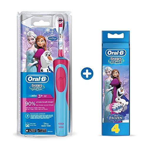 Oral-B Kids Elektrische Kinderzahnbürste, für Kinder ab 3 Jahren, im Disney Eiskönigin Design + Stages Power Kids Aufsteckbürsten, im die Eiskönigin - völlig unverforen Design, 4 Stück