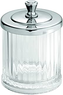 iDesign Alston Bathroom Vanity Canister Jar for Cotton Balls, Swabs, Cosmetic Pads - Clear/Chrome