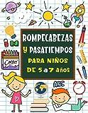 Rompecabezas y pasatiempos para niños de 5 a 7 años: Sopa de letras, Sudoku, Unir los puntos, Laberintos, Tic tac toe, Dibujar, páginas para colorear