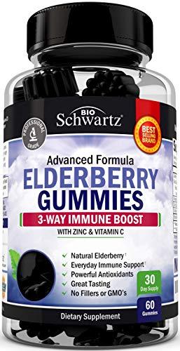 Natural Sambucus Elderberry Gummies - Dr. Approved 3-Way Immune Support with 100% Vitamin C & Zinc - Powerful Daily Vegan Herbal Gummy Supplement with Antioxidant Formula - 60 Gummies