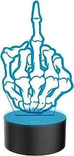 Nouveauté Moyen Finger 3D Illusion Lampes 7 Couleurs Clignotant USB Alimenté Tactile Commutateur Chambre Led Veilleuses po...