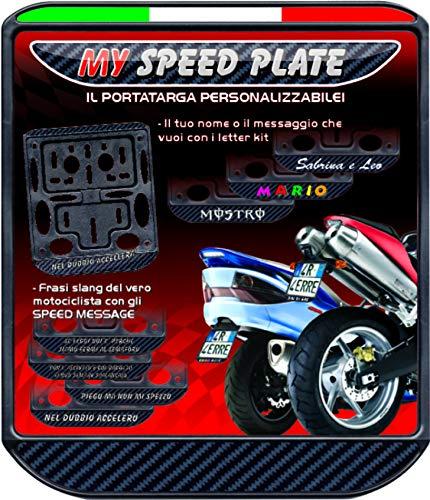 Quattroerre 16109 Portatarga Personalizzabile per Moto Tricolore Carbon