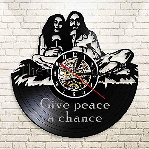 UIOLK Reloj de Pared de Vinilo Hippie Dar la Paz Reloj Hippie Monograma Disco de Vinilo Arte de Pared Reloj Creativo