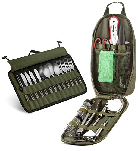 24 Piece Camp Kitchen Cooking Utensil Set Travel Organizer Grill Accessories Portable Compact Gear for Backpacking BBQ Camping Hiking Travel Cookware Kit Water Resistant Case (Green)