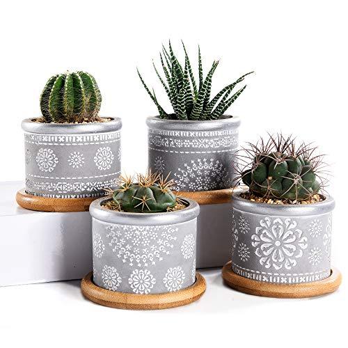 Macetas suculentas de cemento de 7,5 cm, maceta de cactus, recipiente de hierbas al aire libre para...