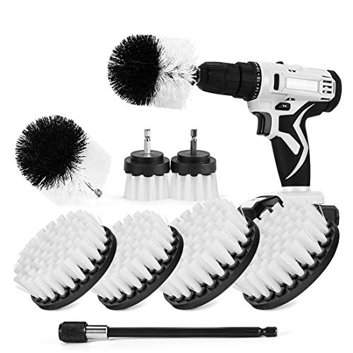 Shieldpro Drill Brush Attachment Set,Power Cleaning Scrub Brush,All Purpose Drill Brushes With Extend Long Attachment For Bathroom And Kitchen Surface,Grout,Tub,Shower,Tile,Corners, Automotive (White)