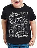 style3 DMC-12 Cianotipo Camiseta para Niños T-Shirt Fotocalco Azul, Color:Negro, Talla:152