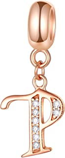 Letter Charms Initial A-Z Alphabet Beads, Rose Gold 925 Sterling Silver Dangle CZ Birthstone Pendant, Mothers Day Birthday Gifts for Charm Bracelet