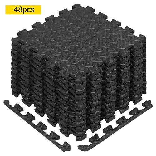 Civigroupey Fußmatten, Puzzlematte für den Fußbodenheizung/Bodenbelag/Bodenbelag/Garage/Fitnessmatte 60 x 60 x 1 cm, 48PCS + Nero
