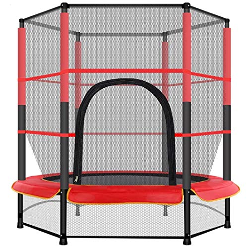 Routinfly Toys,55In Kids Trampoline with Enclosure Net Jumping Mat And Spring Cover Padding,Kids Trampoline,Fitness Trampoline (A)