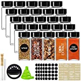 CUCUMI 25pcs 4oz Glass Spice Jars Square Glass Bottles with Black Caps, 1pcs Silicone Collapsible Funnel 203pcs Waterproof Labels 1pcs Test Tube Brush 1 Chalk Marker