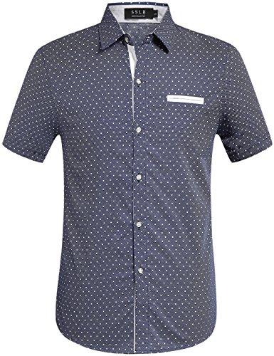 SSLR Herren Hemd Kurzarm Baumwolle Polka Punkte Freizeithemd Button Down Shirt (Large, Blau)