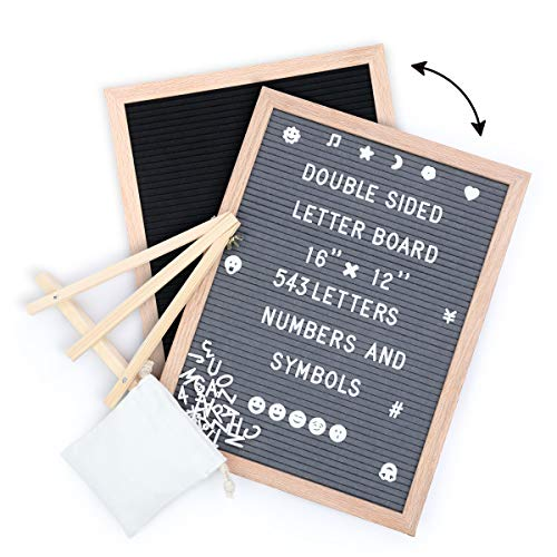 Tuffen Double Sided Felt Letter Board -16x12 Inches - Changeable Wooden Message Board with Stand and 543 Letters & Numbers for Sign Message, Memo, Quote, Pregnancy Announcement, Party Planning
