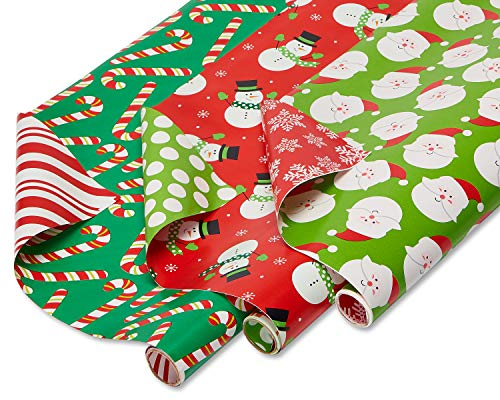 American Greetings Reversible Christmas Wrapping Paper, Santa, Snowmen and Candy Canes (3 Pack, 120 sq. ft.)