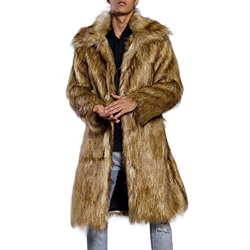 Azruma Pelzmantel Kunst Felljacke Herren Design Wind Coat, Winterjacke Mantel Kunstpelz Lange Jacke Faux Fur Kunstpelz Lange Jacke Dick und Warm Cardigan Winterjacke