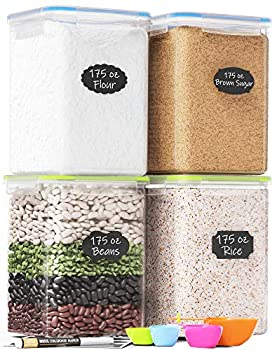 Extra Large Plastic Food Storage Containers with Lids 175oz For Flour & Sugar - Air tight Kitchen & Pantry Organization Bulk Food Storage BPA-Free - 4 PC - Canisters with Pen & Labels - Chef's Path