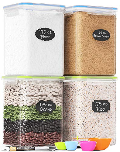 Extra Large Plastic Food Storage Containers with Lids 175oz, For Flour & Sugar - Air tight Kitchen & Pantry Organization Bulk Food Storage, BPA-Free - 4 PC - Canisters with Pen & Labels - Chef's Path