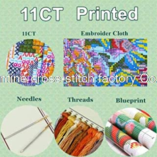 New Arrive Painting Handmake DIY Needlework A lake side town DMC Cross Stitch Kits for Embroidery Knitting Needles Crafts (11CT Precise Printed)