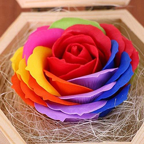 Handgemachte Rose Seife,künstliche Rose Holzkiste,Geschenk für Mädchen,Muttertag,Valentinstag,Jubiläum,Geburtstag Rot