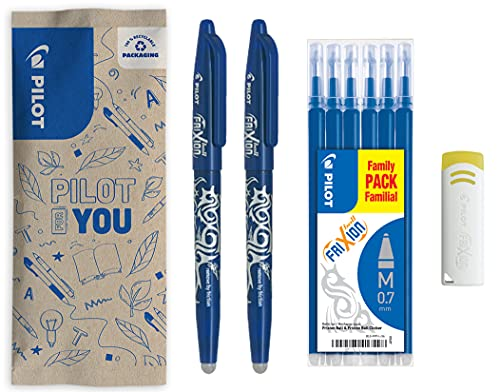 Pilot–flowpack 2Penne Frixion Ball, 1set di 6Refill & 1 Frixion Remover–Roller cancellabile–Colore Blu–Punta Media 0,7 mm