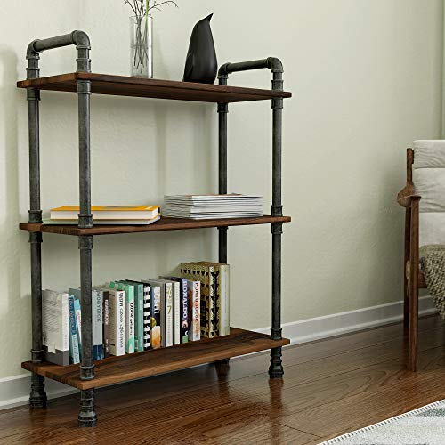 Barnyard Designs Furniture 3-Tier Etagere Bookcase, Solid Pine Open Wood Shelves, Rustic Modern Industrial Metal and Wood Style Bookshelf, Brown, 38.5