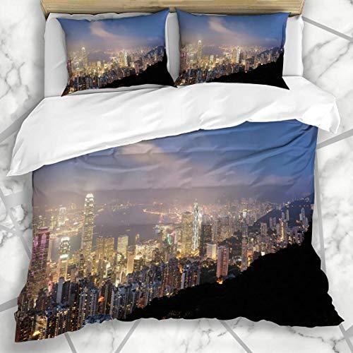 HARXISE Bettwäsche - Bettwäscheset Ansicht Zentralasiens Hong Kong Fro Victoria Light Peak Center-Stadt-Stadtbild-Design Mikrofaser weich dreiteilig Mit 2 Kissenbezügen 160 * 220