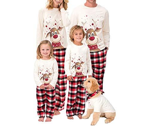 Weihnachten Schlafanzug Damen Herren Kinder Family Pyjamas Outfits Hirsche Bedruck Sweater Plaid Hose Hausanzug Sleepwear (Mutter, L)